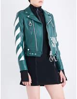 Off-White Diagonal Stripes leather biker jacket