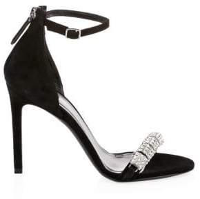 Calvin Klein Men's Camelle Jeweled Suede Ankle-Strap Sandals - Black - Size 38 (8)