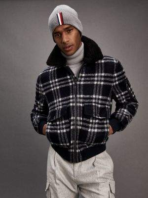 Tommy Hilfiger Gingham Detachable Collar Flight Jacket