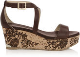 Jimmy Choo PORTIA 70 Dark Brown Leather with Lace Lasered Cork Wedges