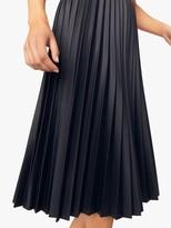 Oasis Faux-Leather Pleated Midi Skirt, Black