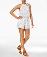 Maison Jules Printed Tie-Neck Romper, Created for Macy's