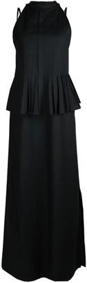 Maraina London October Pleated Maxi Evening Dress Set In Black