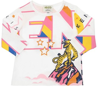 Kenzo Kids Printed L/S Cotton Jersey T-Shirt