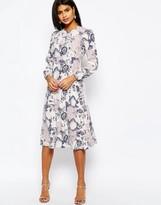 Asos Printed Midi Column Dress in Wallpaper Print
