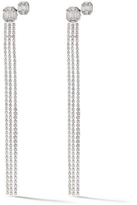 As 29 AS29 18kt white gold Venus duplex illusion 3 lines long diamond earrings