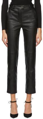 Salvatore Ferragamo Black Leather Trousers