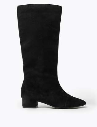 Marks and Spencer Suede Block Heel Almond Toe Knee Boots