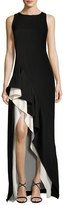 Halston Sleeveless Round-Neck Colorblocked Flounce-Skirt Evening Gown