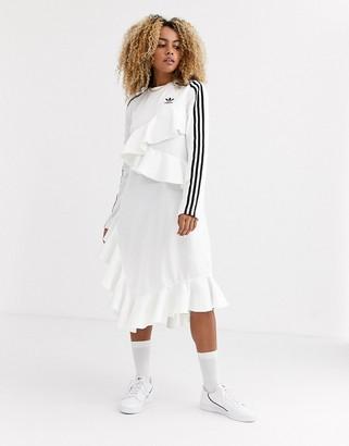 adidas x J KOO trefoil ruffle dress in off white