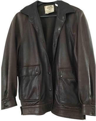 Hermes Brown Leather Leather Jacket for Women Vintage