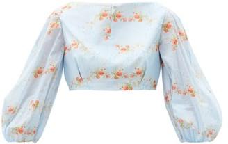Emilia Wickstead Mai Floral-print Balloon-sleeve Cotton Cropped Top - Blue Print