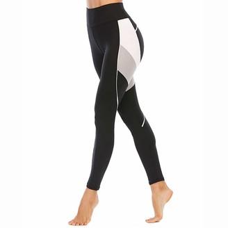 SotRong Fashion Patchwork Gym Leggings High Waist Tummy Control Yoga Pants Stretchy Workout Gym Running Tights Black M