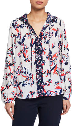 Laundry by Shelli Segal Printed Hooded Long-Sleeve Blouse