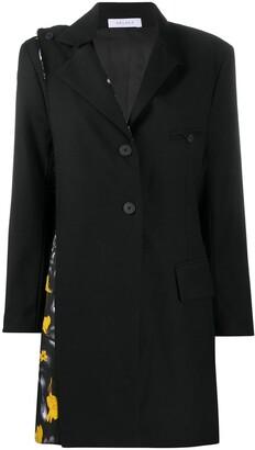 Delada Contrast-Panel Single Breasted Coat