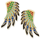 Lalique 18k Gold Multi-Stone Wing Earrings