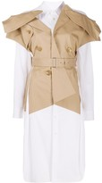 Junya Watanabe layered trench-style longline shirt