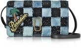 Marc Jacobs Patchwork Denim Wallet Leather Strap
