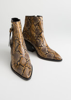 And other stories Faux Snake Leather Cowboy Ankle Boots