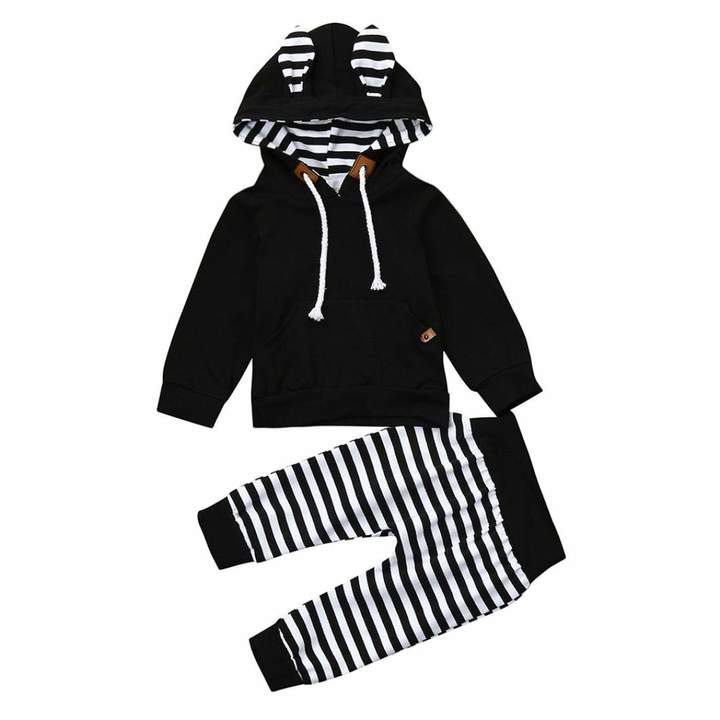 2pcs Newborn Baby Boys Girls Bunny Ears Hoodie Tops Pants Outfits Kid Clothes