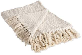 DII Rustic Farmhouse Cotton Zig-Zag Blanket Throw with Fringe For Chair