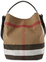 Burberry Ashby Medium Canvas Check Hobo Bag, Black