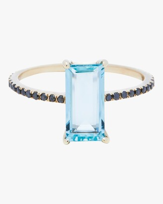 Black Diamond Yi Collection Aquamarine and Ring