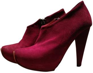 Acne Studios Burgundy Suede Ankle boots