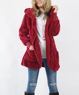Lydiane Women's Non-Denim Casual Jackets CABERNET - Cabernet Faux Fur Pocket Cocoon Hooded Jacket - Women