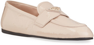 Prada Patent Leather Logo-Plaque Loafers
