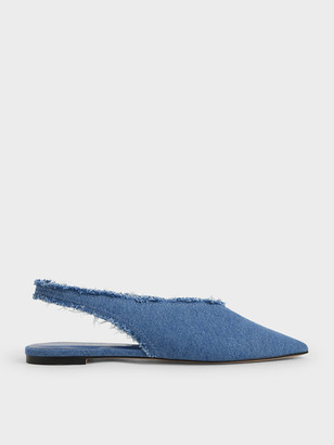 Charles & Keith Textured Pointed Toe Slingback Ballerinas