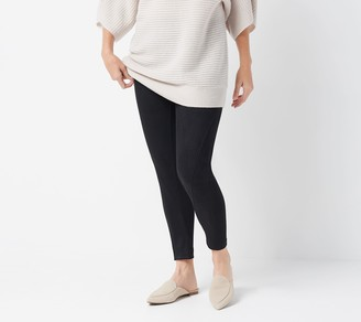 Women With Control Petite Tummy Control Faux Suede and Ponte Leggings