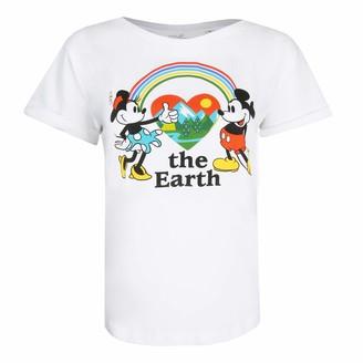 Disney Women's Mickey Mouse Earth T-Shirt