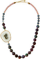 Nakamol Beaded Agate Slice Statement Necklace