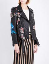 Etro Floral-print leather jacket