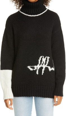 Off-White Intarsia Script Logo Alpaca Blend Turtleneck Sweater