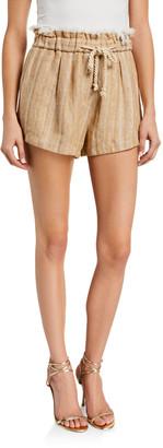 Forte Forte High-Waist Linen-Cotton Herringbone Shorts