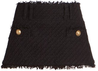 Balmain Low-Rise Tweed Trapeze Mini Skirt