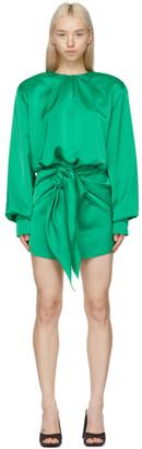 ATTICO Green Satin Wrapped Skirt Dress