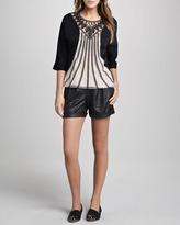 Catherine Malandrino Crocodile-Embossed Faux-Leather Shorts