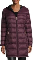 MICHAEL Michael Kors Smocked-Back Long Quilted Puffer Coat, Eggplant