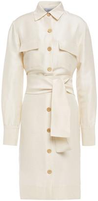 Isolda Belted Silk-shantung Shirt Dress