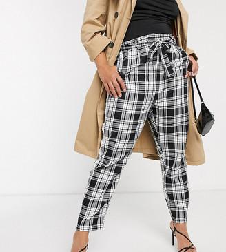 Asos DESIGN Curve check side stripe tie waist trousers
