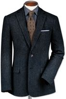 Classic Fit Blue Lambswool Hopsack Wool Jacket Size 38