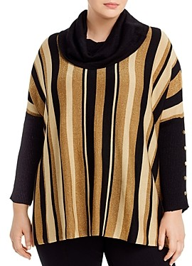 Joseph A Plus Metallic-Stripe Poncho Sweater