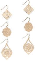 New York & Co. 3-Piece Filigree Drop Earring Set