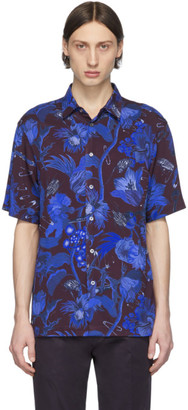 Paul Smith Burgundy and Blue Floral Goliath Short Sleeve Shirt