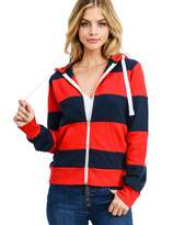 esstive Women's Ultra Soft Fleece Two Color Block Casual Midweight Zip-Up Hoodie Jacket Blush/Oatmeal X-Large