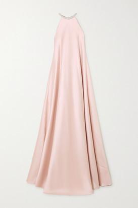 Reem Acra Crystal-embellished Duchesse-satin Halterneck Gown - Blush