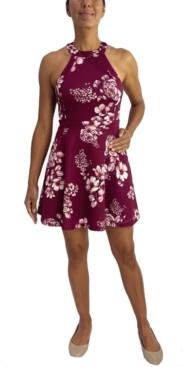 City Studios Juniors' Floral-Print Halter Dress